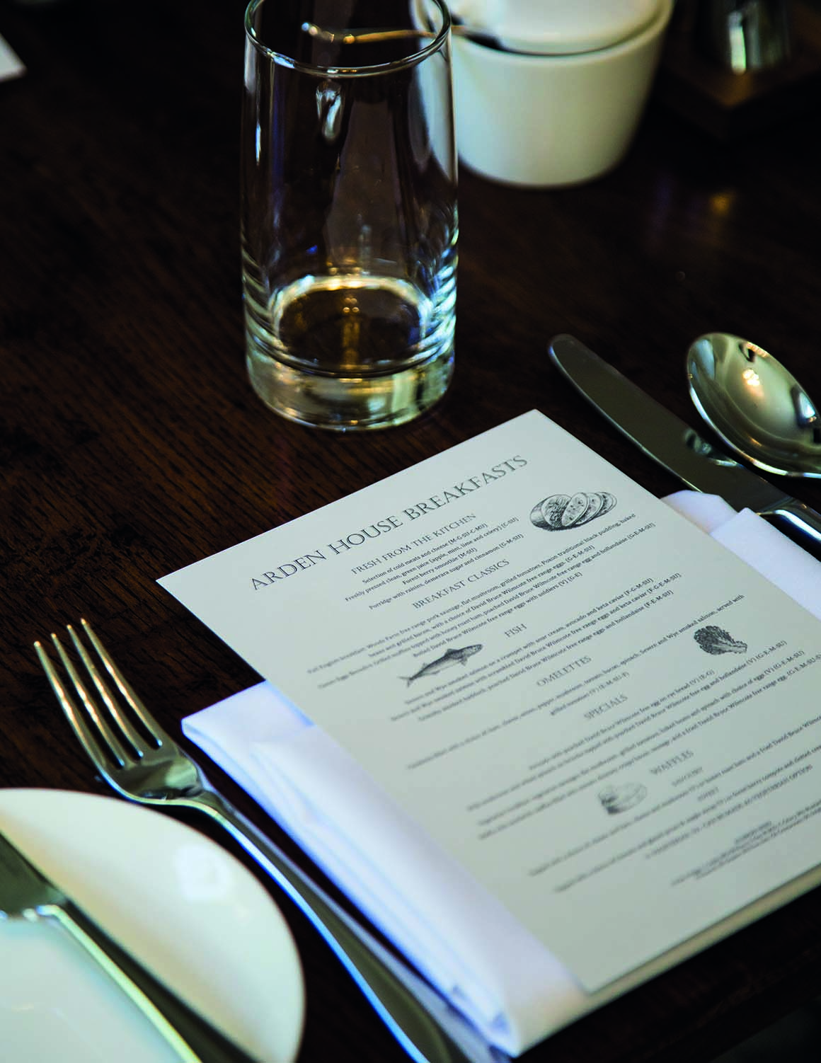 Arden House Hotel Photo Gallery table with breakfast menu